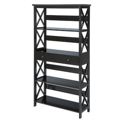 """59.75"""" Oxford 5 Tier Bookcase with Drawer Black - Breighton Home"""