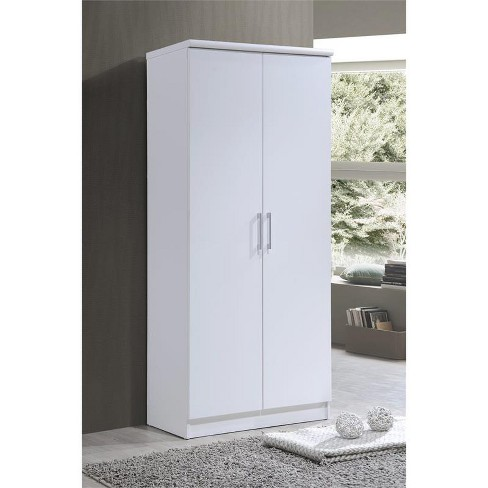 cheap for discount 7a17b 127af 2-Door Armoire with 4-Shelves in White - Hodedah