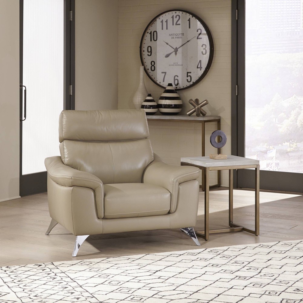 Moderno Leather Contemporary Upholstered Chair Beige - Home Styles