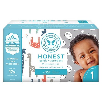 The Honest Company Disposable Diapers Pandas & Giraffes - Size 1 (80ct)