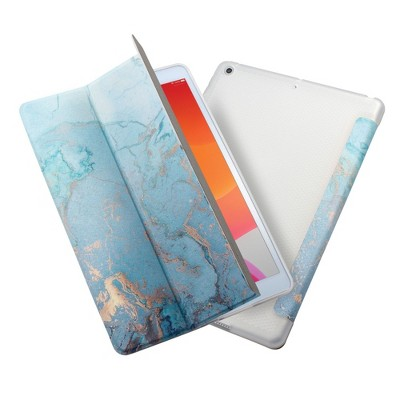 "Insten - Marble Tablet Case For iPad 8th Gen 10.2"" 2020, Multifold Stand, Magnetic Cover Auto Sleep/Wake, Shock Resistant, Blue"