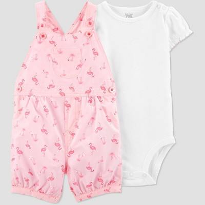 Baby Girls' 2pc Flamingo Print Shortall Set - Just One You® made by carter's White/Pink 12M