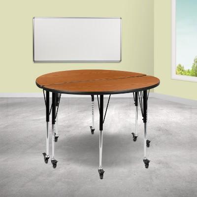 Emma Oliver 30x72 Oak Thermal Laminate Preschool Activity Table