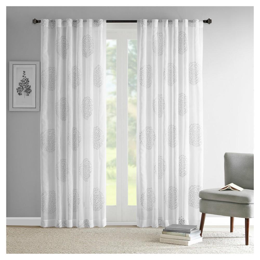 Ophelia Sheer Branch Flocking Curtain Panel Gray (50x84)