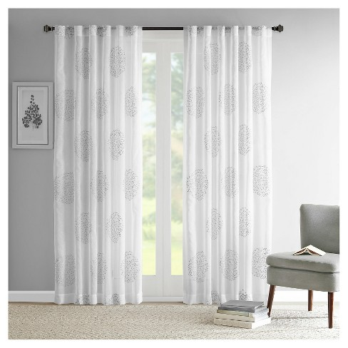Ophelia Sheer Branch Flocking Curtain Panel - image 1 of 5