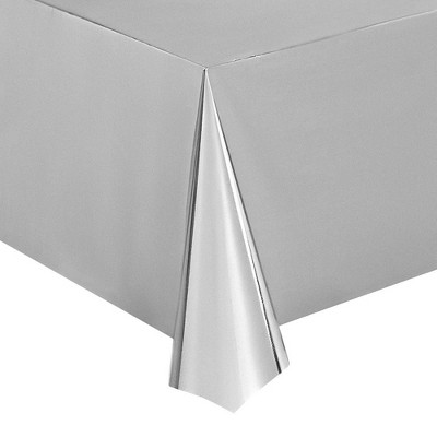 """Juvale 3-Pack Shiny Silver Plastic Tablecloth, Fits 8-Foot Long Table, Silver Themed Party Supplies, 4.5x9"""""""