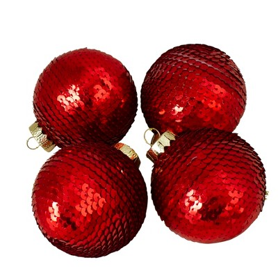 "Northlight 4ct Red Shiny Sequin Christmas Ball Ornaments 2.75"" (70mm)"