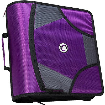 Case-it Zipper Binder with 5 Tab Files, D-Ring, 4 Inches, Purple