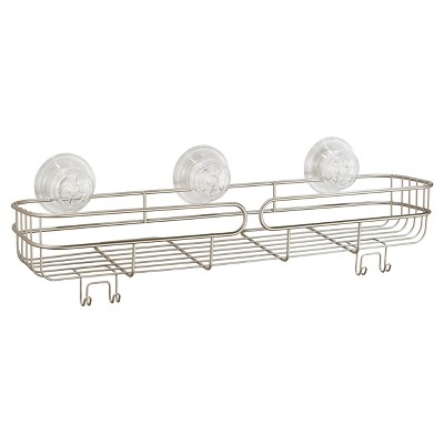 Neo Long Suction Shelf with PowerLock Ultra Pearl Satin Silver - InterDesign