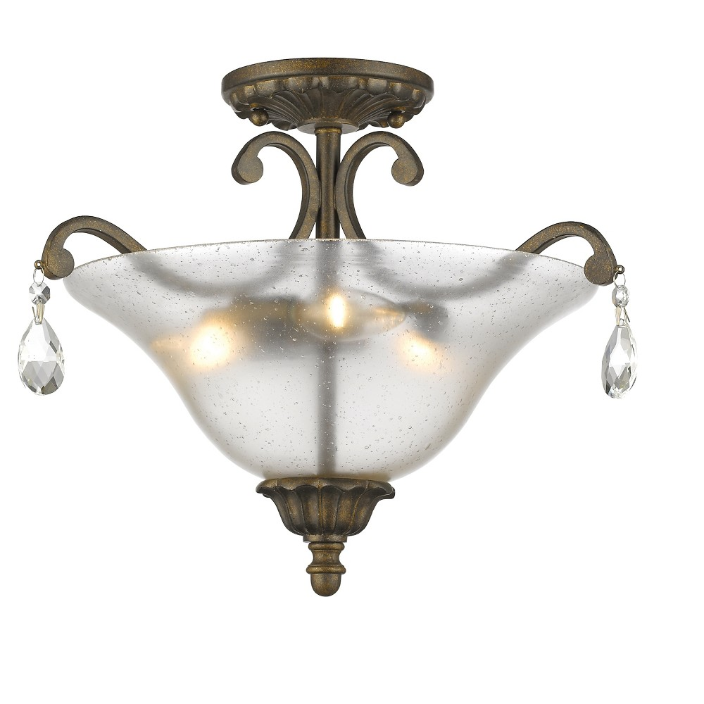 Semi Flush Mount Ceiling Lights with Cognac Seedy Glass (Set of 3) - Z-Lite