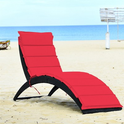 Costway Folding Patio Rattan Lounge Chair Chaise Cushioned Portable Garden