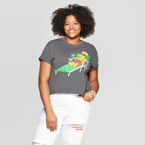 Women's Bart Simpson Plus Size Short Sleeve Cropped Graphic T-Shirt - (Juniors') - Dark Heather Gray - image 1 of 2