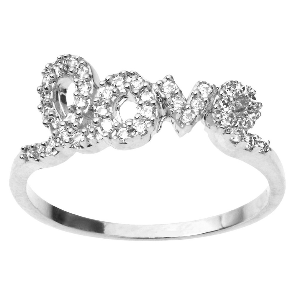 3/8 CT. T.W. Round Cut CZ Pave Set Love Ring in Sterling Silver - Silver (7)