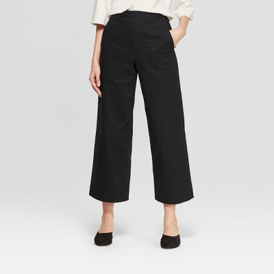 Women's Mid-Rise Wide Leg Cropped Pants - Prologue™ Black 6