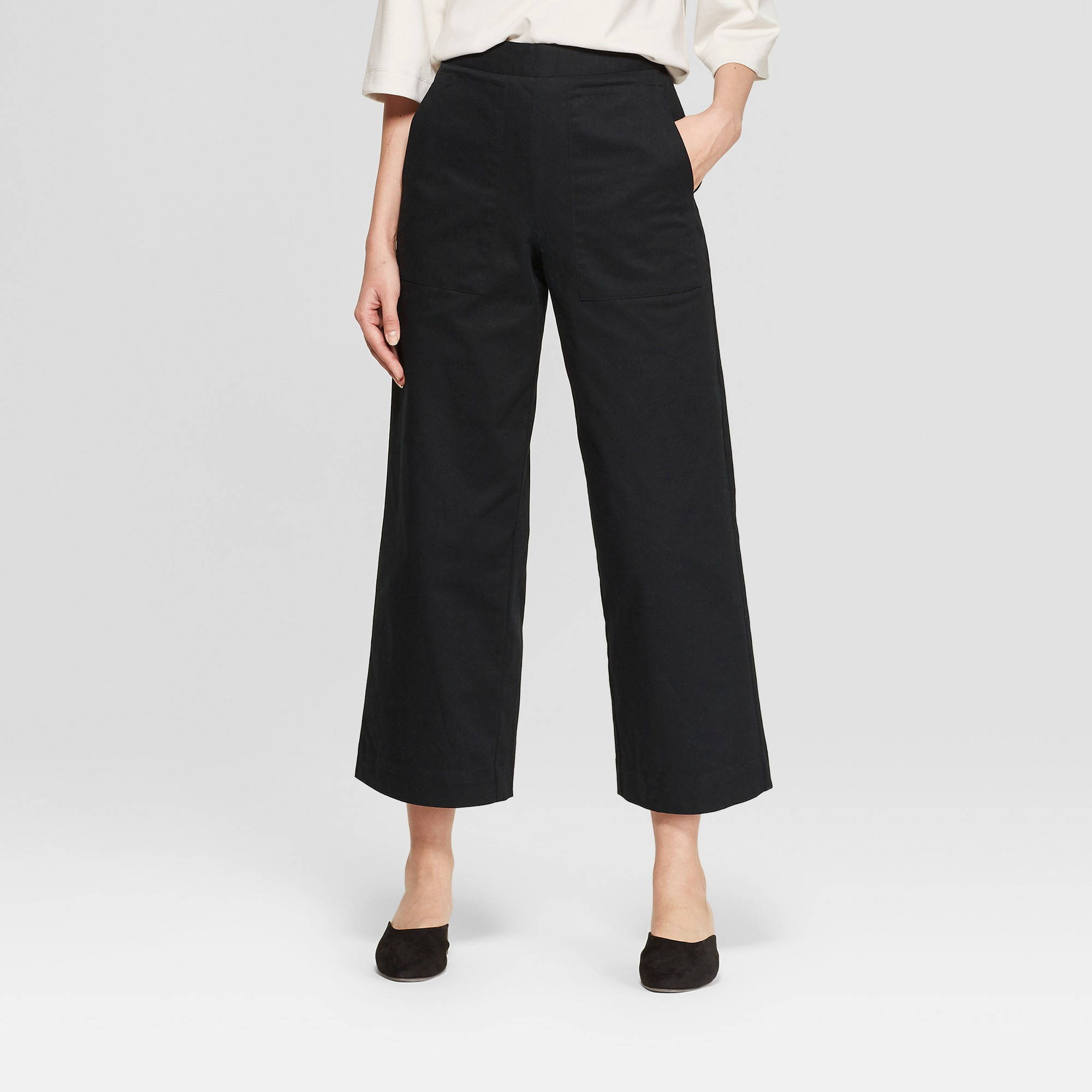 Women's Mid-Rise Wide Leg Ankle Length Pants - Prologue Black 2