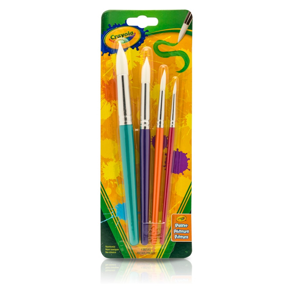 Crayola Big Brushes Assorted Round Tips 4ct, Multi-Colored