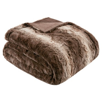 Faux Tip Fur Oversized Bed Throw (80 x96 )Chocolate