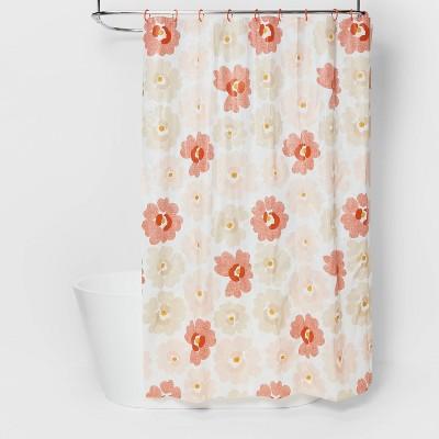 Multi Floral PEVA Shower Curtain Bundle Orange - Room Essentials™