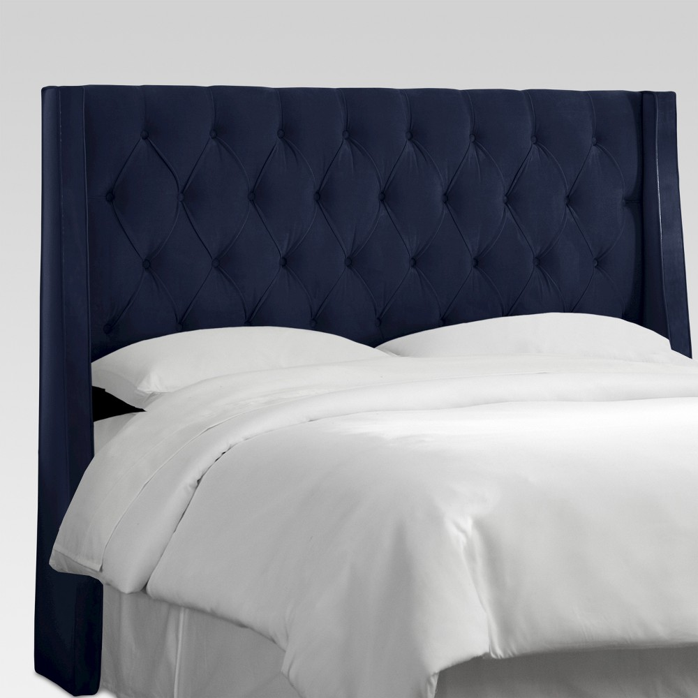 Queen Gilford Tufted Wingback Headboard Velvet Ink - Threshold