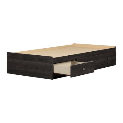 Twin Zach Mates Bed with 3 Drawers  Gray Oak  - South Shore