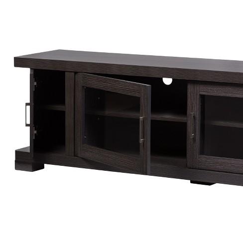 Viveka 70 Wood Tv Cabinet With 2 Glass Doors And 2 Doors Dark