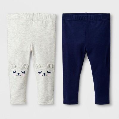Baby Girls' 2pk Leggings Set - Cat & Jack™ Critter/Nightfall Blue 3-6M