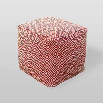 Martos Modern Boho Pouf - Ivory/Red - Christopher Knight Home