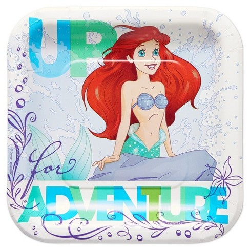 8ct The Little Mermaid Ariel Square Disposable Plates - image 1 of 2