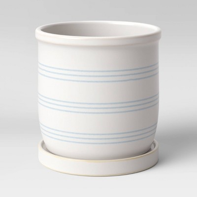 "6"" Stoneware Ceramic Lines Planter White - Threshold™"