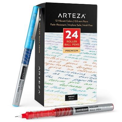 Arteza Roller Ball Pens 0.5 mm Needle Point Set, Assorted Colors - 24 Piece