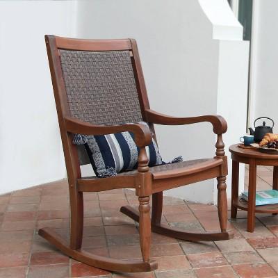 Lyon Wood Oversized Wicker Rocking Chair - Brown - Cambridge Casual