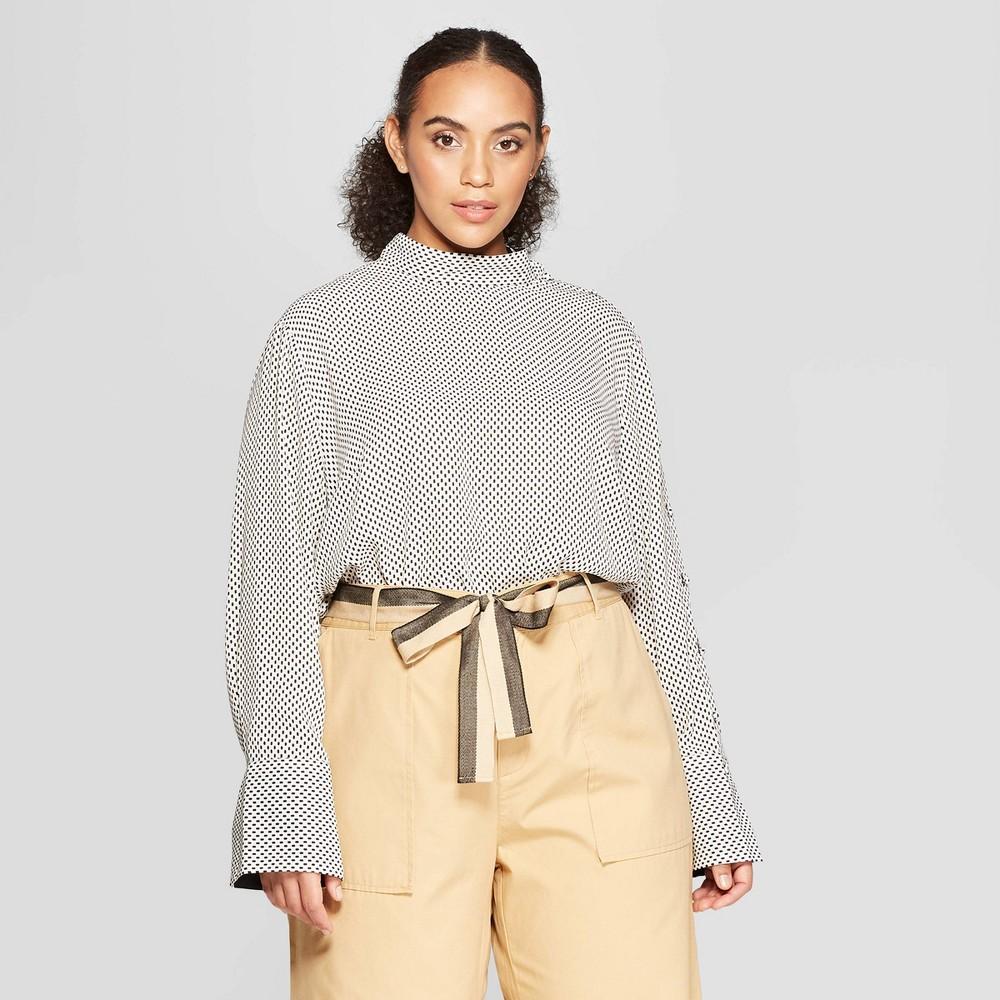 Women's Plus Size Polka Dot Long Sleeve Cowl Neck Button Blouse - Who What Wear White 1X