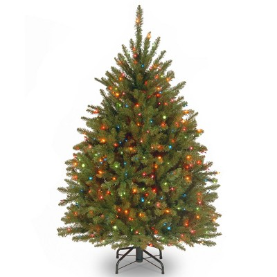 4.5ft National Christmas Tree Company Pre-Lit Dunhill Fir Hinged Artificial Christmas Tree with 450 Multi Lights