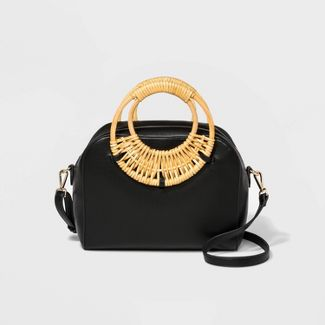 Rattan Circle Handle Satchel Handbag - A New Day™ Black