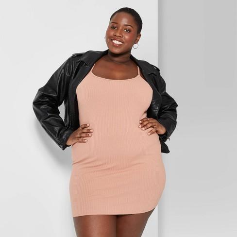 Women\'s Plus Size Sleeveless Scoop Neck Rib Knit Mini Dress - Wild Fable™
