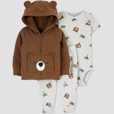 Baby Boys' Bear Hoodie Top & Bottom Set - Just One You® made by carter's Brown 3M