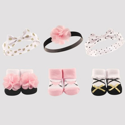 Hudson Baby Girls' 6pk Headband & Socks Set - Pink 0-6M