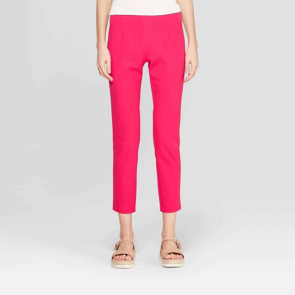 Women's High-Rise Skinny Ankle Pants - A New Day Dark Pink 14