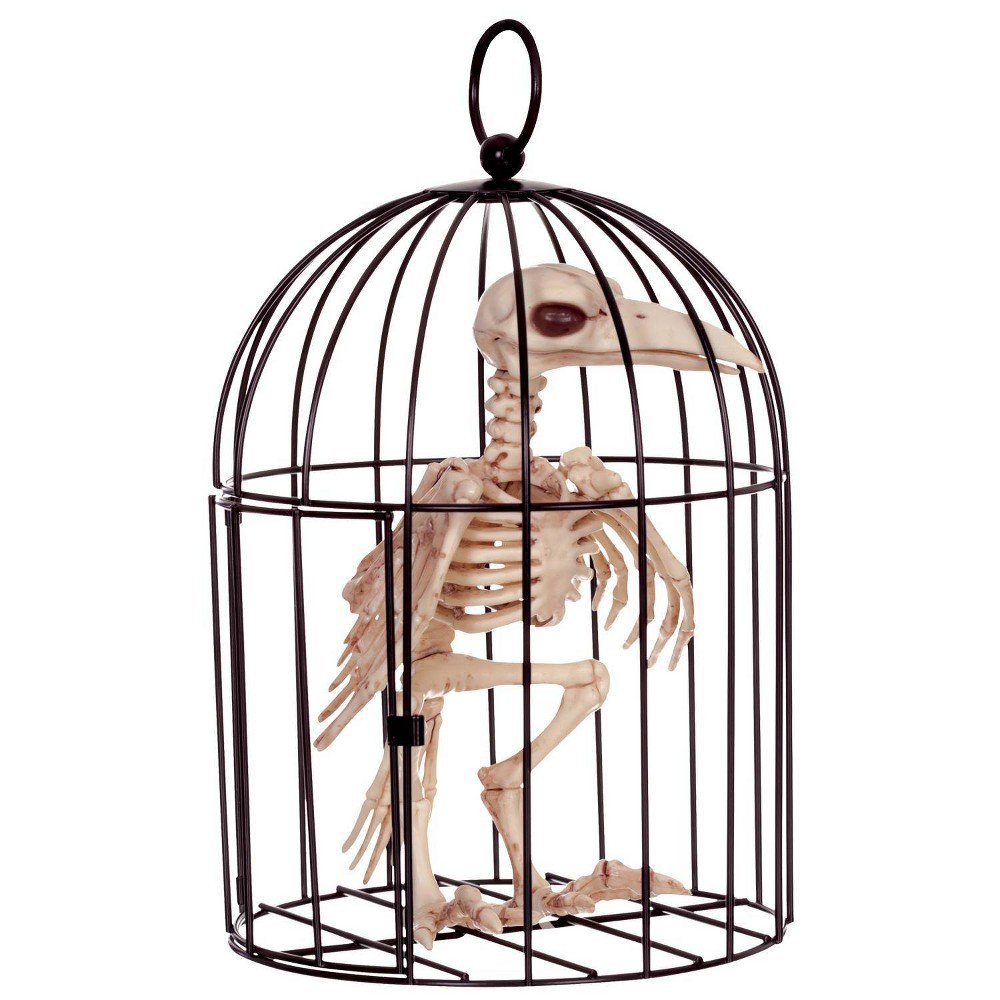 Image of Halloween Skeleton Crow In Cage