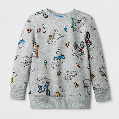 Toddler Boys' Printed Dinosaur Sweatshirt - Cat & Jack™ Heather Gray 4T