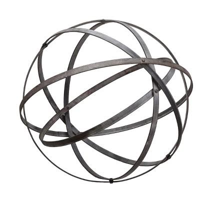 Large Distressed Black Metal Decorative Sphere Sculpture - Foreside Home & Garden