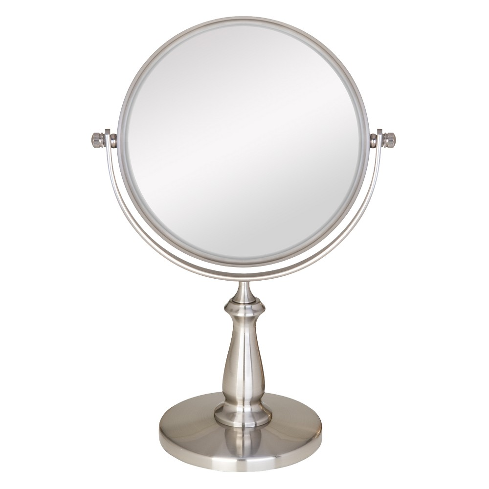 Zadro Two-Sided Swivel Vanity Mirror - 1X & 8X Magnification, Satin Nickel