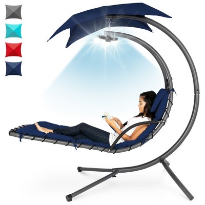 Best Choice Products Hanging LED-Lit Curved Chaise Lounge Chair for BackyardPatio w/ PillowCanopyStand