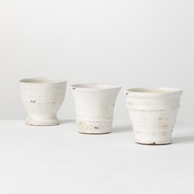 "Sullivans Set of 3 Glazed Ceramic Pots 5""H Off-White"