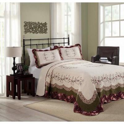 Modern Heirloom Brooke Bedspread Ivory/Green
