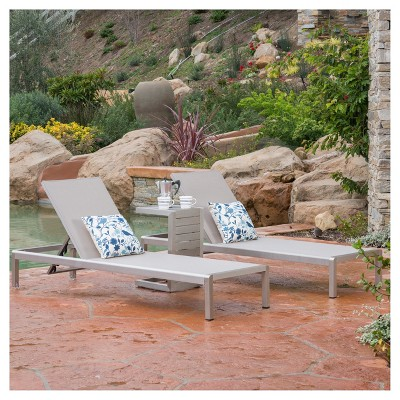 Cape Coral 3pc Mesh Patio Chaise Lounge Set with Aluminum Side Table - Gray - Christopher Knight Home