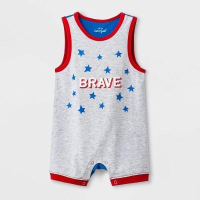Baby Boys' ColorBlock  Brave  Romper - Cat & Jack™ Gray/Blue Newborn