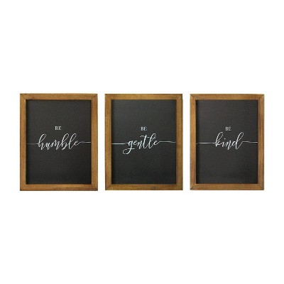 "(Set of 3)8"" x 10"" ""Be"" Wall Art Black/Brown - Stratton Home Décor"