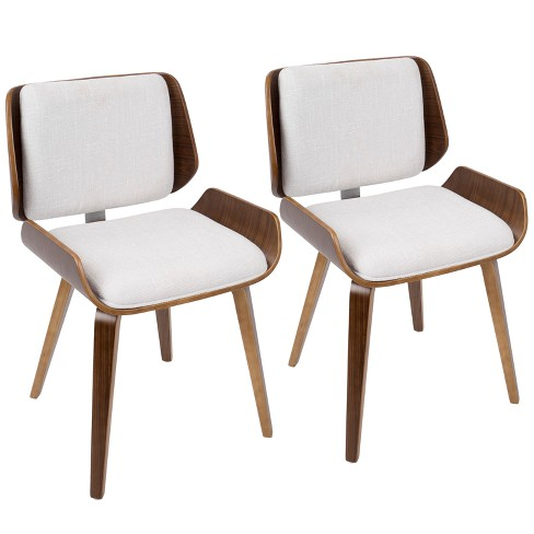 Set of 2 Santi Mid - Century Modern Dining Accent Chair - White - Lumisource - image 1 of 4