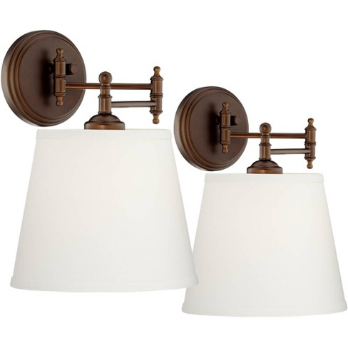 360 Lighting Swing Arm Wall Lamps Set of 2 Oil Rubbed Bronze Plug-In Light Fixture Cream Empire Shade for Bedroom Bedside Reading - image 1 of 4